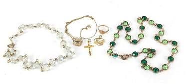 Vintage and later jewellery including a 9ct gold cross
