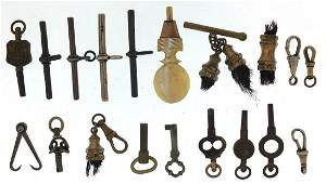 Collection of antique and later watch keys, fobs and T