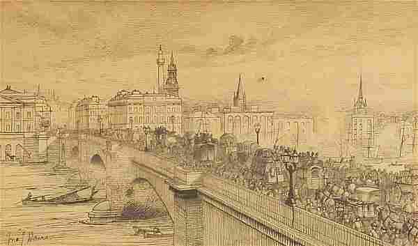 John J Davis, London Bridge, early 19th century ink