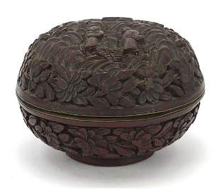 Chinese cinnabar lacquer box and cover carved with two