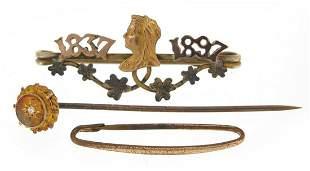 Antique jewellery including a 15ct gold diamond stick