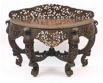 19th century Burmese hardwood demi lune hall table