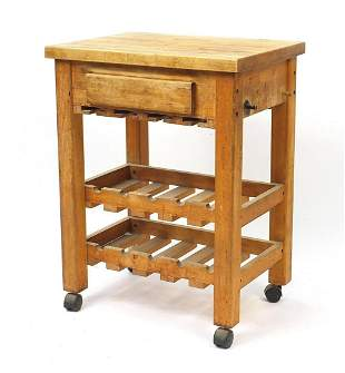 Lightwood butcher's block with frieze drawer and wine