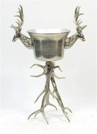 Silvered staghorn design floor standing ice bucket with