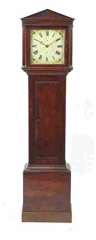 Victorian mahogany longcase clock with painted dial,