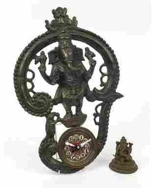 Indian bronze figure of Ganesh and a bronzed metal wall