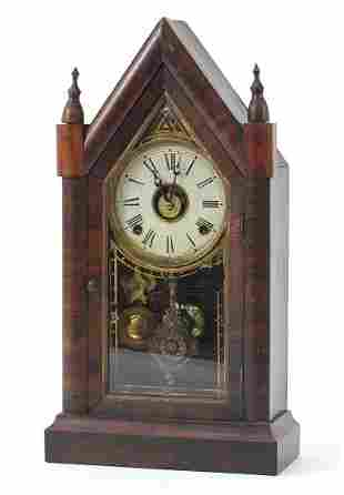 Gothic style American faux rosewood striking mantle
