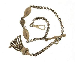 Victorian silver watch chain with T bar and tassel,