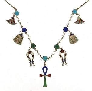 Egyptian Revival silver and enamel necklace, 36cm in