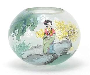 Chinese glass candle holder internally hand painted