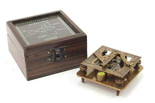Military interest sundial compass with hardwood case,