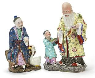 Chinese porcelain figure with swan and figure group of