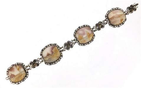 Silver filigree cameo bracelet, 19cm in length, 19.2g
