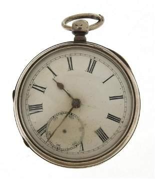 Victorian gentlemen's silver open face pocket watch,