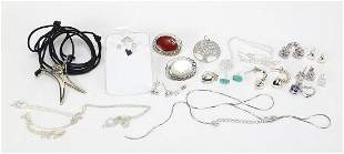Silver jewellery including two cabochon stone brooches,
