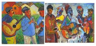 Sandy Esau - South African Band Groups, pair of oil on