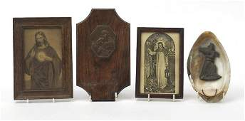 Religious items including two holy water fonts, one