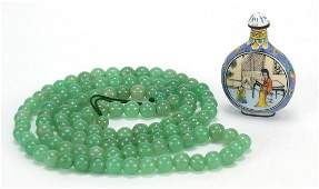 Chinese green jade bead necklace and Canton enamel