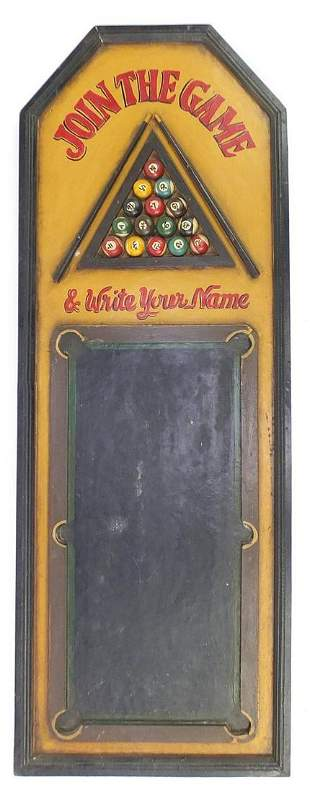 Hand painted wooden American pool chalk name board,