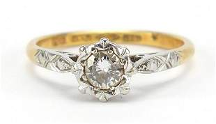 18ct gold and platinum diamond solitaire ring, the
