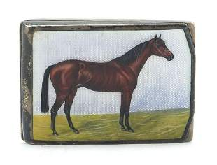 German sterling silver and enamel match box case