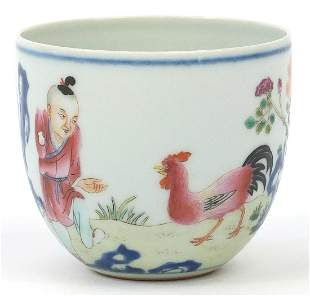 Chinese porcelain chicken cup finely hand painted in