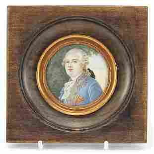 French circular hand painted portrait miniature of
