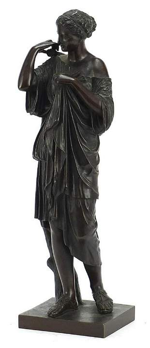 19th century Grand Tour patinated bronze study of a