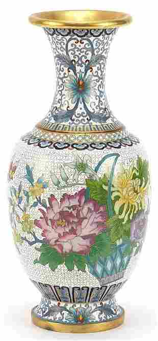 Chinese cloisonné baluster vase enamelled with a
