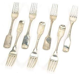Group of Irish 19th century silver table forks