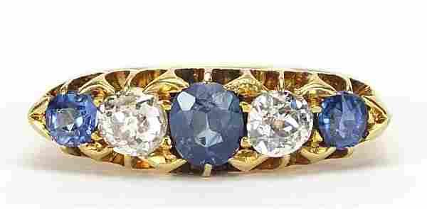 Victorian 18ct gold sapphire and diamond five stone