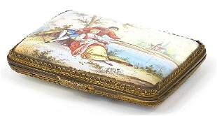 19th century Continental enamel cigarette case finely