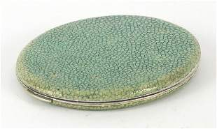 Antique white metal and shagreen mounted powder compact