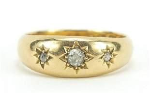 Victorian 18ct gold diamond three stone gypsy ring,