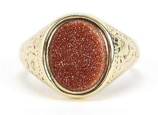 Edwardian 9ct gold goldstone signet ring with engraved