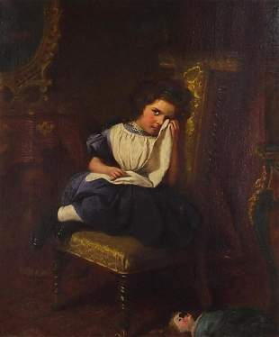Attributed to James Sant - Girl crying in an interior,