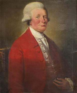 Portrait of a gentleman wearing a red frock coat, late
