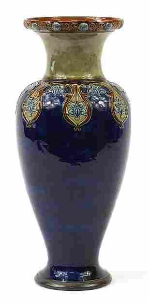 Royal Doulton, large Art Nouveau stoneware vase hand