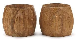 Robert Mouseman Thompson, pair of carved oak napkin