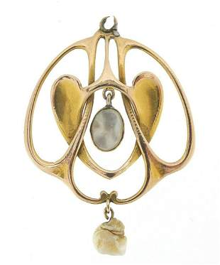 William Hair Haseler, Art Nouveau 9ct gold and mother