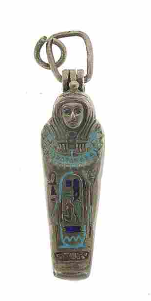Egyptian Revival silver and enamel Tutankhamun