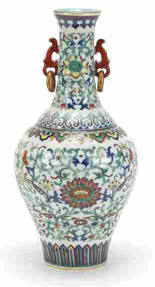 Good Chinese doucai porcelain vase with iron red ring