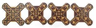 Four Victorian sewing interest Tunbridge Ware silk