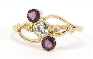 George V 9ct gold diamond and amethyst ring, the