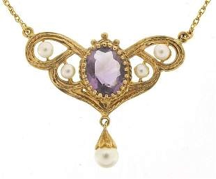 Art Nouveau design 9ct gold amethyst and pearl necklace