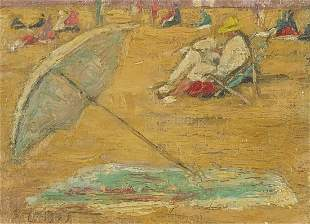 After Edward Le Bas - Seated figures on a beach,