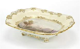 19th century Coalport four footed dish hand painted