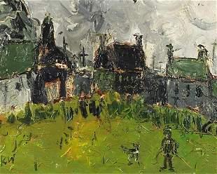 Figure before buildings, Welsh school oil on board,