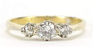 18ct gold and platinum diamond trilogy ring, size M,