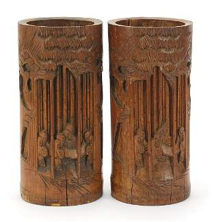 Pair of Chinese bamboo brush pots carved with figures,